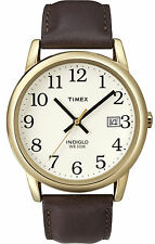 Timex T2P563 Unisex Rose Gold Tone Indiglo Easy Reader Date Leather Band Watch
