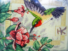 Exquisite Hummingbird Cross Stitch Kit Oriental Kanji Gold Tassle Dimensions