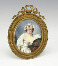 19th Century Hand-painted Miniature Woman in French Gold Plated Bronze Frame