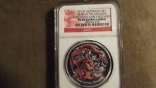 NGC Proof 2012-P Australia YEAR OF THE DRAGON Colorized $1 PF69 Silver 1oz