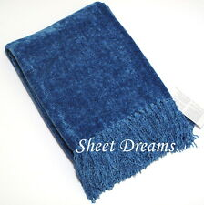 Churchill Weavers Handwoven Chenille Spa Blue Throw Blanket New Tags