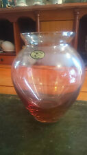 BOHEMIAN CRYSTAL PINK GLASS VASE