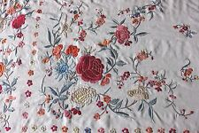 Antique c1890 Silk Embroidered Canton de Manila/Chinese Handmade Piano Shawl