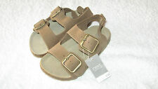 Next Size 13 BROWN CORK FOOTBED SANDALS *BNWT* Leather New Shoes Summer Boys