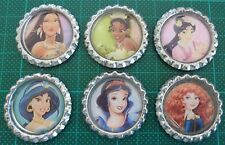 6 x Disney Princess Inspired Flattened Bottle Caps - Great for Magnets, Bows