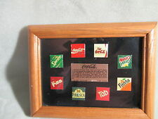Coca- Cola Coke 8- Pin Ltd Ed 0174/2500 Framed Set Fanta Pibb Sprite,Tab,Fresca