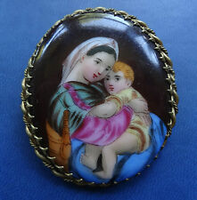 antique Victorian painted china Mother & Child cab. brooch hinged c pin -C546