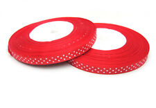Sale  3/8(10mm)50yds satin ribbon for making bows dot  red colour