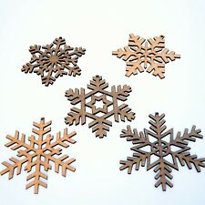 X5 Rustic Snowflake Christmas Tree Decorations Laser Cut From Natural Hardwoods.