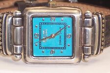 Ladies Sterling Silver Ecclissi Tank Style Watch Leather Band Turquoise Face