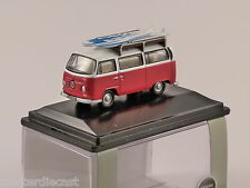 VOLKSWAGEN T2 Bay Window Surf Bus in Red / White 1/76 scale model OXFORD DIECAST