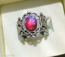 Dragons Breath Mexican Fire opal ring,oval,8x10mm,silver flower filigree ring