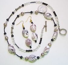 Necklace/Pierced Earring Set, White Glass w/Brown Swirl & Black Beads, Crystals