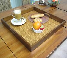 "Wood Wicker Rattan Fruit Food Square Serving Tray Large 20 1/8"" x 20 1/8"""