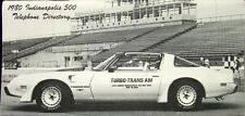 1980 Indianapolis 500 Phone Book Pontiac Turbo Trans Am Pace Car