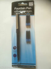 Handwriting Cartridge Fountain Pen - Blue Ink x 1, Cheap School home office