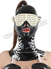 100% Latex Rubber Gummi Mask Hood Neck Corset Goggle Catsuit Suit Buckle Lace up