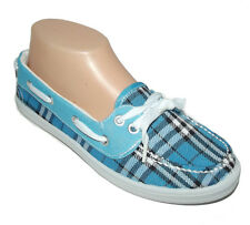 NEW Blue White black Plaid lace FLAT SLIP ON MOCCASIN LOAFER Boat Shoes size 8