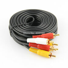 20m Meter Gold Plated 3 RCA to 3 RCA Audio Video AV TV Yellow Red White Cable