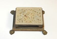 CHINESE WHITE JADE CLAW FOOT MATCH BOX