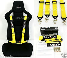1 TANAKA UNIVERSAL YELLOW 4 POINT BUCKLE RACING SEAT BELT HARNESS