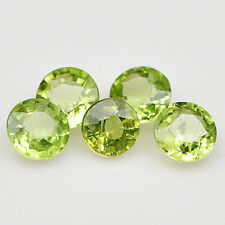 5 PIECES OF 3mm ROUND-FACET STRONG-GREEN NATURAL AFGHAN PERIDOT GEMSTONES