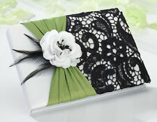 Green & Black Guest Book and Pen Set Wedding Guests Signatures Sign in Book