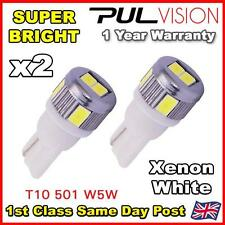 2 x 6 SMD LED Pure White LED 501 T10 W5W Side Light bulbs 6000k - SUPER BRIGHT