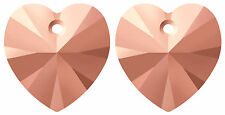 2 SWAROVSKI XILION CRYSTAL GLASS HEART PENDANTS 6228, ROSE GOLD X2, 10 MM