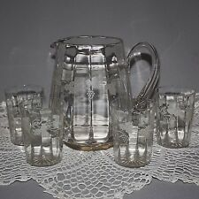 Antique Vintage ETCHED Crystal Clear GRAPE VINE WATER PITCHER 4 GLASSES Stuart ?