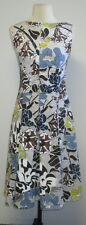MARNI 100% cotton blue/brown sleeveless pleated dress SZ 36/2