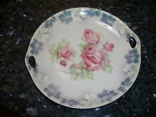 Antique German Sandwich/Cookie Plate - Pink Roses with Leaf Rim Design NR