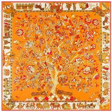 "Women's Golden Twill Silk Square Scarf Fashion Printed Money Tree 51""*51"""