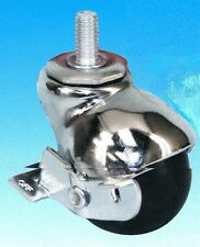 "Chrome Finish Ball Caster with 2"" Rubber Wheel and 3/8"" Threaded Stem & Brake"
