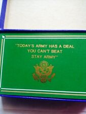 "Vintage 1960'sGreen PLastic Coated Playing Cards ""Todays Army Has A Deal..."""
