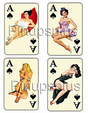 4 Sexy Aces High Vintage Pinup Girl Nose Art Rockabilly Vinyl Decal #1208