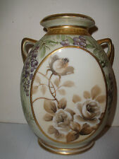 Vintage beautiful hand painted Nippon vase with roses flowers decoration