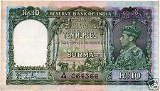 British India Burma 10 Rs King George VI J B Taylor AUNC Note