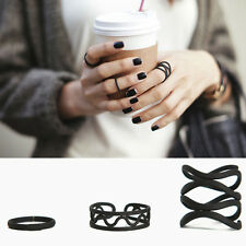 3 Piece Ring Set Black Sexy Fashion Rings Cute Finger Style Wire UK Seller