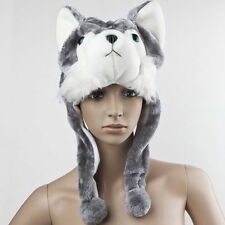 Cartoon Animal Wolf/Penguin Cute Fluffy Plush Warm Hat Cap Scarf Earmuff Mascot