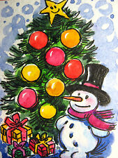 Christmas Tree Decorations Snowman Gifts Box Winter Snowflakes Yellow Star ACEO