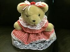 The World of Smile Plush Teddy Bear With Red And White Floral Bow And Roses