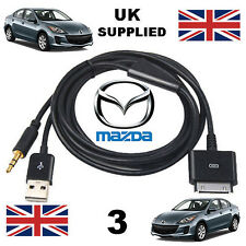 Mazda 3 Replaces C860V6572B iPhone iPod USB & 3.5mm Aux Cable replacement Black