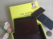 TED BAKER Metal Corner Chocolate Leather Credit Card Holder Wallet & Coin BNIB