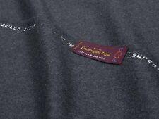 Wool Flannel Fabric Made in Italy Ermenegildo Zegna-Dark Grey mtr. 0.5