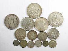 Vintage Silver World Coin Lot of (15) Mixed Silver Foreign Coins 155 grams