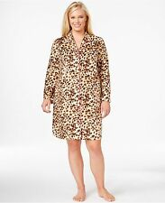 Women's Charter Club Fleece Leopard Print Mink Fleece Sleepshirt M