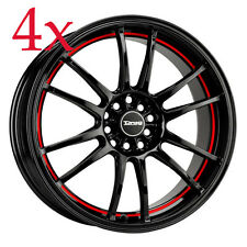 Drag Wheels DR-38 18x8 5x100 5x114 +35 Black w/ Red Stripe Rim For Evo X Wrx Sti