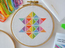 Cross Stitch Kit For Beginners - Tutorial Kit With Booklet - Modern Star Design