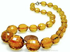 ANTIQUE VICTORIAN CZECH FACETED AMBER GLASS BEAD NECKLACE